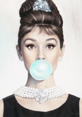Prints & Multiples, Michael Moebius (b. 1968). Audrey Hepburn Tiffany Blue, 2017. Giclee print in colors on canvas. 40 x 28 inches (101.6 x ...