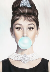 Michael Moebius (b. 1968) Audrey Hepburn Tiffany Blue, 2017 Giclee print in colors on canvas 40 x