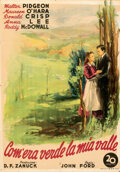 Movie Posters:Academy Award Winners, How Green Was My Valley (20th Century Fox, 1946). Folded, ...