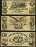 Montgomery, AL- Central Bank of Alabama $2; $20; $50 Faded (2), Sep. 1, 1857 Very Good-Fine. ... (Total: 3 notes)
