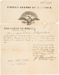 Army of the Coast, Camp Kirby Autograph Letter Signed with U.S. Amnesty Oath