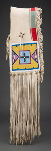 American Indian Art:Beadwork and Quillwork, A Plateau Beaded Hide Double Saddle Bag...