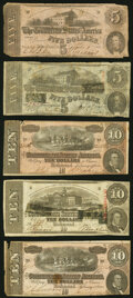 Confederate Notes:1862 Issues, T53 $5 1862 Very Good;. T59 $10 1863 Very Fine;. T60 $5 1863 Very Good;. T68 $10 1864 Two Examples Fine or Better.... (Total: 5 notes)