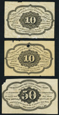 Fr. 1243SP 10¢ First Issue Narrow Margin Back Two Examples Extremely Fine; Fr. 1313SP 50¢ First Issue Narrow M...
