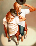Paintings, Lui Liu (b. 1957). Yehuda #1 Riding on Himself, 1999. Oil on canvas. 30 x 24 inches (76.2 x 61 cm). Signed and dated upp...
