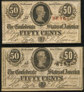Confederate Notes:1864 Issues, T63 50 Cents 1863 Fine;. T72 50 Cents 1864 About Uncirculated.. ... (Total: 2 notes)