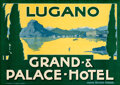 """Movie Posters:Miscellaneous, Lugano: Grand Palace Hotel (c. 1925). Very Fine on Linen. Full-Bleed Swiss Travel Poster (27.5"""" X 39.25"""").. ..."""