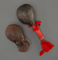 American Indian Art:Pipes, Tools, and Weapons, Two Plains Hide Rattles... (Total: 2 )