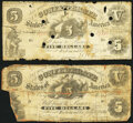 Confederate Notes:1861 Issues, T11 $5 1861 Two Examples Fair or Better.. ... (Total: 2 notes)