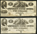 Confederate Notes:1862 Issues, T42 $2 1862 PF-5 Cr. 337 Two Examples About Uncirculated.. ... (Total: 2 notes)