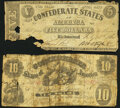 Confederate Notes:1861 Issues, T10 $10 1861 Good;. T12 $5 1861 Fair.. ... (Total: 2 notes)