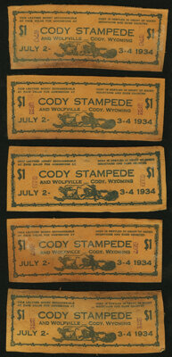 Cody, WY- Cody Stampede $1 July 2-4, 1934 Leather Notes Ten Examples. ... (Total: 10 items)