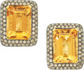 Estate Jewelry:Earrings, Citrine, Colored Diamond, Yellow Sapphire, Gold Earrings