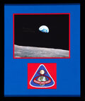 """Explorers:Space Exploration, Frank Borman Signed Apollo 8 """"Earthrise"""" Color Photo Matted and Framed with an Embroidered Mission Insignia Patch...."""
