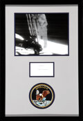 """Explorers:Space Exploration, Neil Armstrong Signature Matted and Framed with a """"First Step"""" Photo and an Embroidered Mission Insignia Patch. ..."""