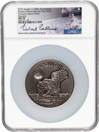Apollo 11 Robbins Medallion Restrike, MS70 NGC, Five Ounces of Silver containing Flown Metal, One of Thirty-Five Signed...