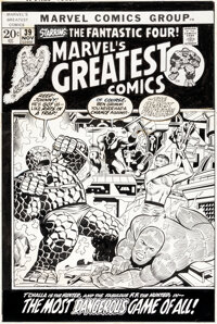 Jim Starlin and Joe Sinnott Marvel's Greatest Comics #39 Cover Fantastic Four and Black Panther Original Art (Marv
