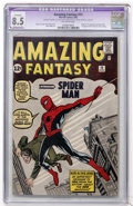Silver Age (1956-1969):Superhero, Amazing Fantasy #15 (Marvel, 1962) CGC Apparent VF+ 8.5 Extensive (P) Off-white pages....