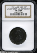 Colonials: , 1783 1C Washington & Independence Cent, Large Military Bust,...