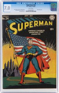 Superman #24 (DC, 1943) CGC FN/VF 7.0 White pages