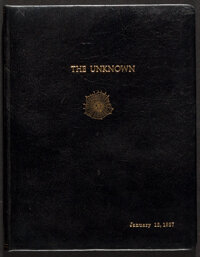 The Unknown by Tod Browning and Waldemar Young (MGM, 1927). Very Fine. Leather Bound Original First Draft Continuity Scr...
