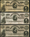 Confederate Notes:1864 Issues, T65 $100 1864 Three Examples Very Fine; Extremely Fine (2).. ... (Total: 3 notes)