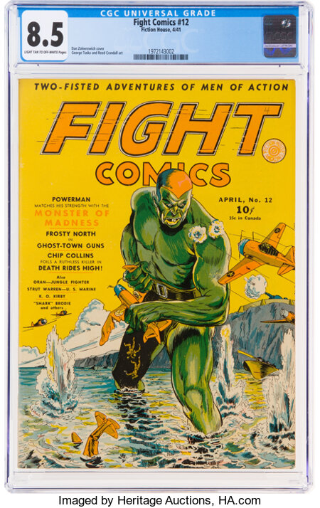 Fight Comics #12 (Fiction House, 1941) CGC VF+ 8.5 Light tan to off-white pages....