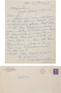 Baseball Collectibles:Others, 1947 Cy Young Handwritten & Double-Signed Letter Requesting Hall of Fame Plaque Postcards....