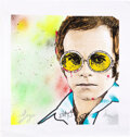 Music Memorabilia:Autographs and Signed Items, Elton John Signed Large Canvas Artwork. ...
