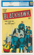 Golden Age (1938-1955):War, Blackhawk #18 Mile High Pedigree (Quality, 1948) CGC NM 9.4 Off-white pages....