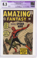 Silver Age (1956-1969):Superhero, Amazing Fantasy #15 Trimmed (Marvel, 1962) CGC Apparent VF+ 8.5 Extensive (B-5) Off-white to white pages....