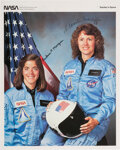 """Explorers:Space Exploration, Space Shuttle Challenger (STS-51-L): Christa McAuliffe and Barbara Morgan Signed Color """"Teacher in Space"""" Color Ph..."""