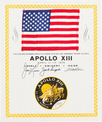 Apollo 13 Flown American Flag on a Crew-Signed Certificate, Originally from the Personal Collection of Mission Command M...