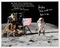 """Explorers:Space Exploration, Apollo 16 Moonwalkers: Signed Apollo 16 Lunar Surface John Young """"Leaping"""" Flag Salute Color Photo. ..."""
