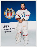 Explorers:Space Exploration, John Young Signed Apollo 16 White Spacesuit Color Photo wi...