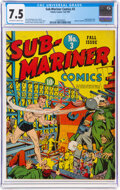 Golden Age (1938-1955):Superhero, Sub-Mariner Comics #3 (Timely, 1941) CGC VF- 7.5 Off-white to white pages....