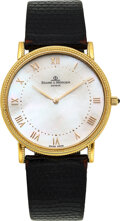 Timepieces:Wristwatch, Baume & Mercier, 18k Gold Watch With Mother-Of-Pearl Dial