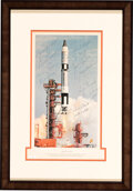 """Explorers:Space Exploration, """"Gemini Launch"""" McDonnell Large Color Print Signed by All ..."""