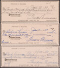 Autographs:Checks, Ted Williams Signed Checks, Lot of 3. Offered is ...