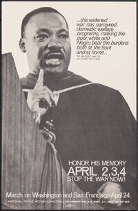 "Martin Luther King Jr. - Honor His Memory (National Peace Action Coalition, 1971). Rolled, Very Fine+. Poster (11""..."