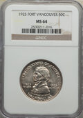 Commemorative Silver, 1925 50C Vancouver MS64 NGC. NGC Census: (855/883). PCGS Population: (1097/1239). MS64. Mintage 14,994. ...