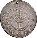 Colonials, 1652 Pine Tree Shilling, Small Planchet -- Holed -- NGC Details. VF. 67.9 grains. NGC Census: (14/93). PCGS Populatio...