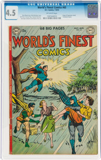 World's Finest Comics #65 (DC, 1953) CGC VG+ 4.5 Off-white pages