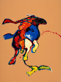 Prints & Multiples, Fritz Scholder (American, 1937-2005). Indian on Galloping Horse After Remington #2 (First State), 1976. Lithograph in co...
