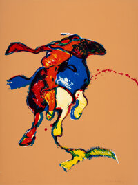 Fritz Scholder (American, 1937-2005) Indian on Galloping Horse After Remington #2 (First State), 1976 Lithograph in co...