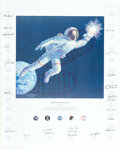 """Explorers:Space Exploration, Alan Bean Signed Limited Edition """"Reaching for the Stars"""" Textured Canvas Color Print, with Engraved Title Plaque, #997/1500, ..."""
