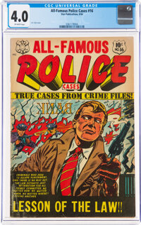 All-Famous Police Cases #16 (Star Publications, 1954) CGC VG 4.0 Off-white pages