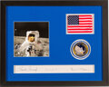 Explorers:Space Exploration, Apollo 12 Flown American Flag in a Crew-Signed Presentation, Directly from the Family Collection of Mission Lunar Module Pilot...