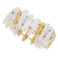 Freshwater Cultured Pearl, Diamond, Gold Bracelet