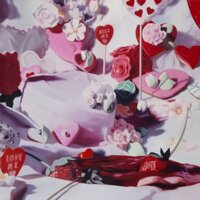 Will Cotton (b. 1965) Kiss Me, 2001 Oil on linen 75 x 75 inches (190.5 x 190.5 cm) Signed, dat
